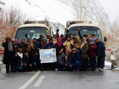 Group photo of Malaysian tourists at Khunjerab Park National Park during blossom tour in April 2017