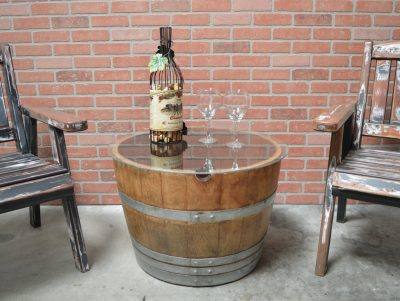 Barrel End Table with Glass Top Cork Storage