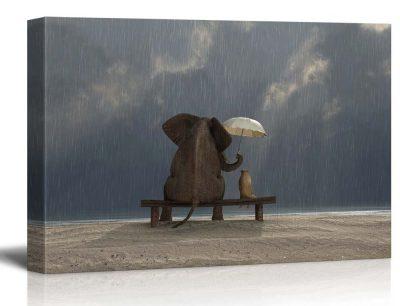 Elephant and Dog Sit under the Rain