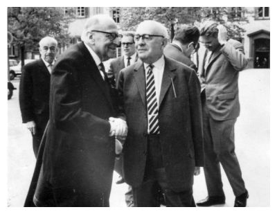 The photograph of Horkheimer, Adorno and Habermas was taken in April 1964 by Jeremy J. Shapiro at the Max Weber-Soziologentag. Horkheimer is front left, Adorno front right, and Habermas is in the background, right, running his hand through his hair. Reproduced here under a Creative Commons Attribution-Share Alike 3.0 Unported license. Wikipedia Commons - Jjshapiro at en.wikipedia