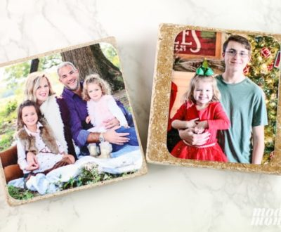DIY Photo Coasters out of christmas cards