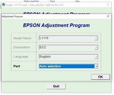 Cara Reset Epson L1110 Menggunakan Adjustment Program