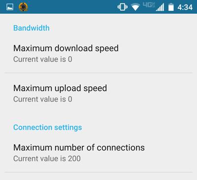 Flud bandwidth options