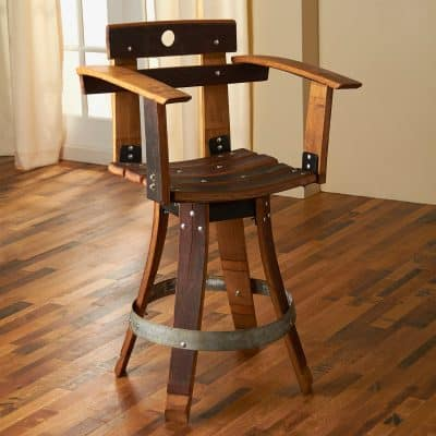 Barrel Stave Sommelier Chair with Swivel Seat