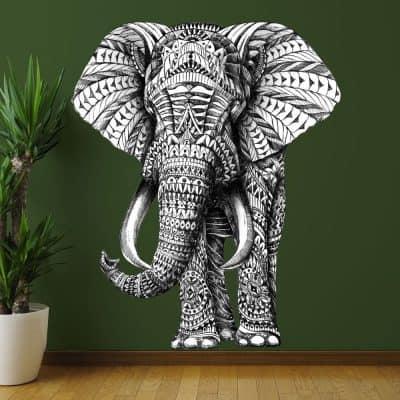 My Wonderful Walls Animal Art Ornate Elephant Wall Sticker Decal by BioWorkZ