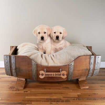 Personalized Wine Barrel Pet Bed Large