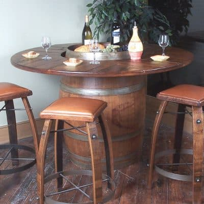 Vintage Oak Full Wine Barrel Bistro Table