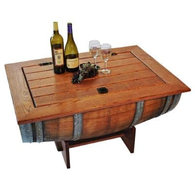 Wine Barrel Coffee Table With Solid Clear White Oak Top And Storage