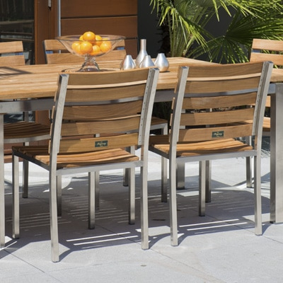 Teak and Stainless Steel Stackable Dining Chair