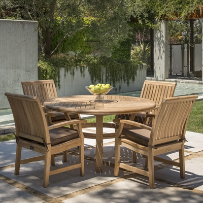Outdoor Teak Round dinign table and chairs