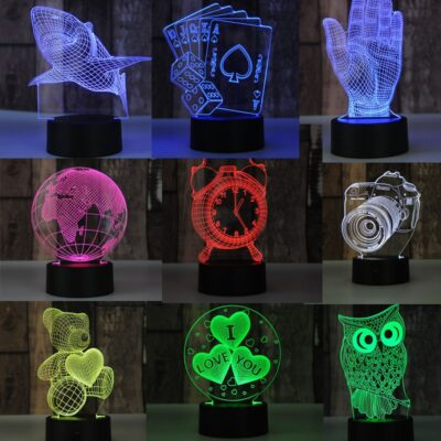 3d Bear Poker 7 Color Led Night Lamps For Kids Touch Led Usb Table Lampara Lampe Baby Sleeping Nightlight Valentines Day Gift