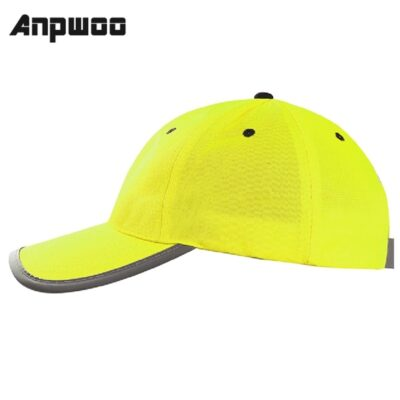 ANPWOO High Visibility Reflective Baseball Cap Yellow Safety Hat Work Safety Helmet Washable Hat Safety Traffic Cap