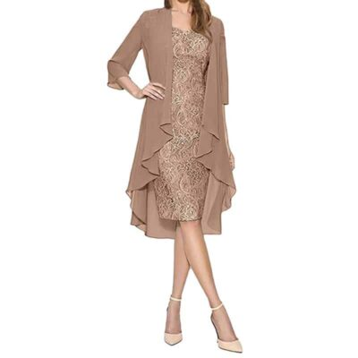 Fashion Two Pieces Charming Solid Color Mother Of The Bride Lace Dresses Formal Dress Women Elegant #L25
