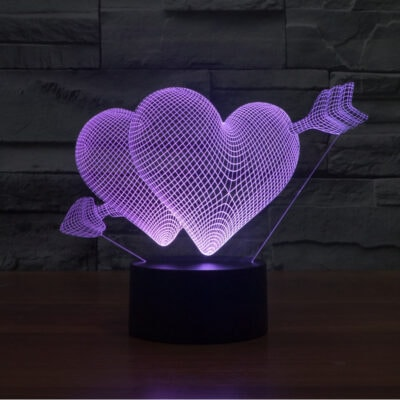 Gift for girlfriend 7 Color Change 3D Hologram Lamp USB Acrylic Lights anniversary wife present Valentines day gift