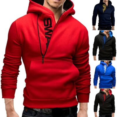 Hot Men Winter Warm Hooded Sweatshirt with Pockets Pullover Streetwear Outwear CGU 88
