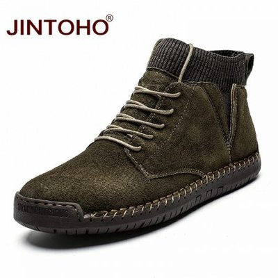 JINTOHO Big Size Men Ankle Leather Boots Fashion Men Genuine Leather Shoes Brand Male Boots Warm Snow Shoes Work Snow Boots