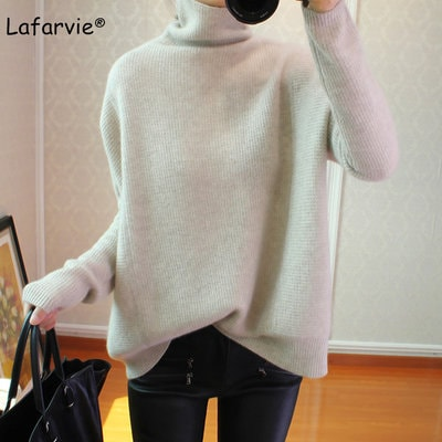 Lafarvie Cashmere Blended Turtleneck Knitted Sweater Women Autumn Winter Long Sleeve Casual Loose Thick Warm Pullover Female