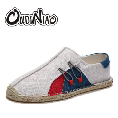 OUDINIAO Hemp Wrap Mens Shoes Casual Male Espadrilles Men Breathable Canvas Shoes Men Chinese Fashion Sewing Slip On Loafers