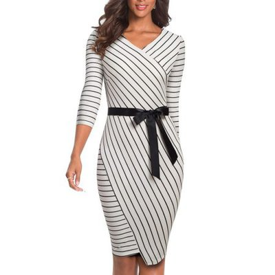 Striped Casual Elegant Business Slim dress V neck Bow bodycon office ladies dress EB548