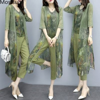 Summer Green Chiffon Printed 3 Piece Sets Women Plus Size Vest+cardigan+cropped Pants Suits Elegant Korean Womens Sets Femme