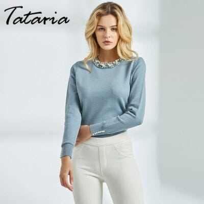 Tataria Long Sleeve Pullover for Women Pearl Beaded Sweater Jumpers Women Sweater with Pearls Knitting Female Solid Slim Sweater