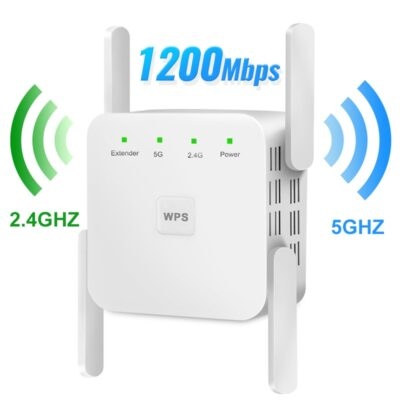 WiFi Repeater WiFi Extender 2.4G 5G Wireless WiFi Booster Wi Fi Amplifier 5ghz Wi Fi Signal Repeater Wi-Fi 1200Mpbs