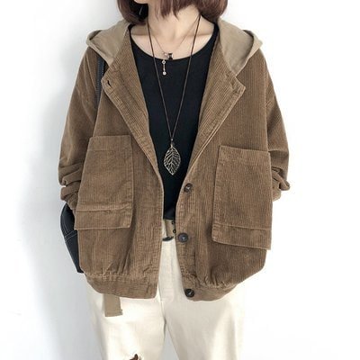 Loose casual Corduroy Jackets Wome