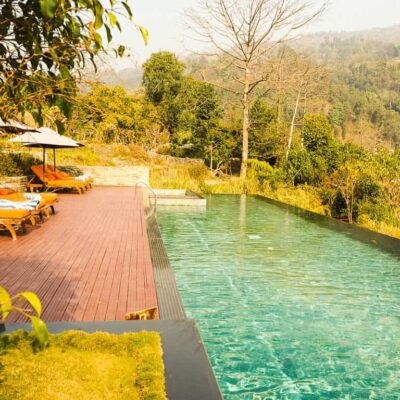 The swimming pool at The Pavilions Himalayas Nepal