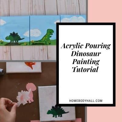 Acrylic Pouring Dinosaur Painting Tutorial
