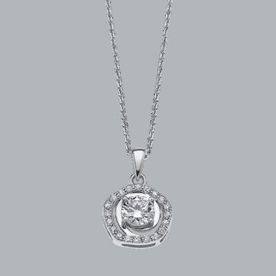 Collar Lotus plata circonitas Ref; Lp1607-1/1. Viene con una circonita central y un cuajo a su alrededor, acabado en brillo y cadena con alargador.