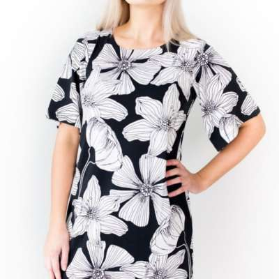 Damen Kleid Manhattan black flower Blaa!