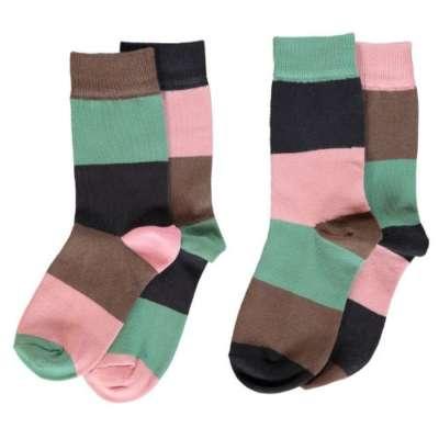 Maxomorra 2er Set Socken Blockstreifen multi forest bei Kleidermarie