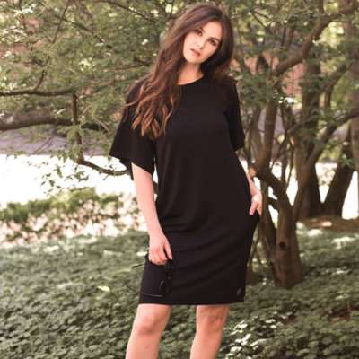 Blaa! Damenkleid Viskose Flatterärmel schwarz
