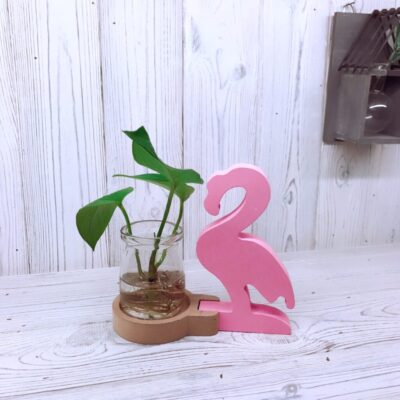 Pink Flamingo Hydroponic Glass Planter