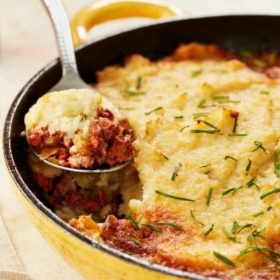 Quick and Easy Skillet Shepherd's Pie With Cauliflower Mash Recipe