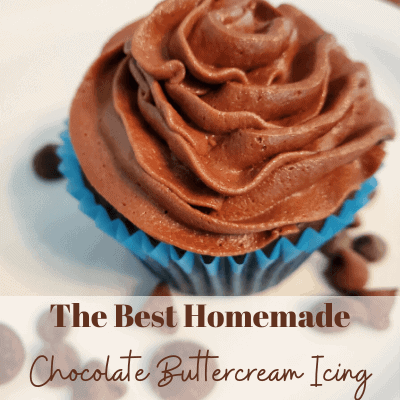 Chocolate cupcake with chocolate icing.  Text says the best homemade chocolate buttercream icing