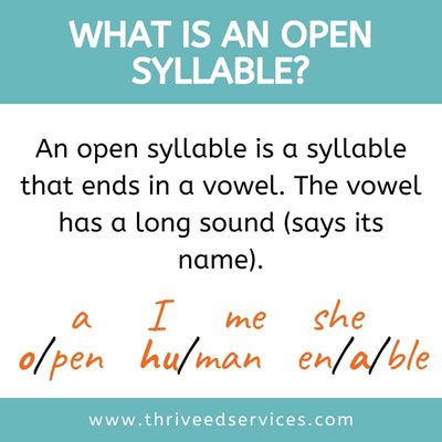 what is an open syllable