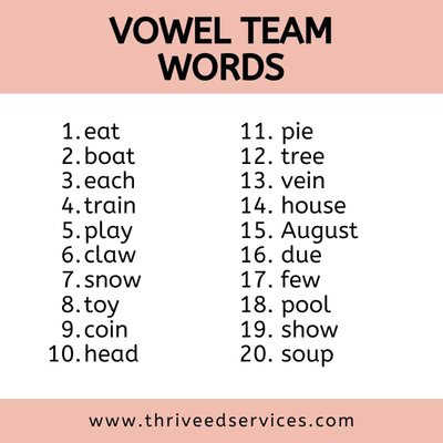 vowel team words list