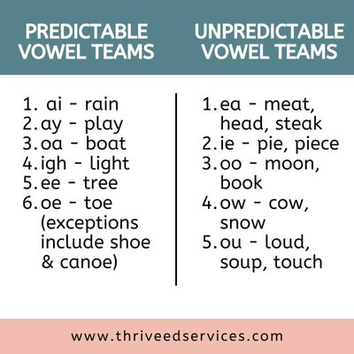 types of vowel teams - predictable and unpredictable vowel teams with examples listed