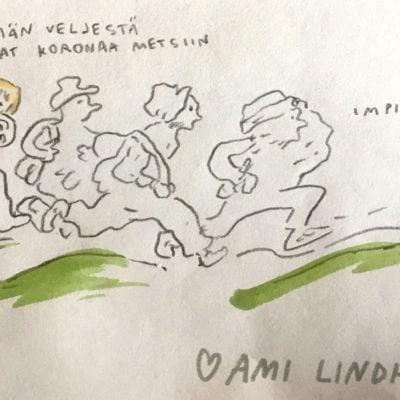 Koronakevät kuvia - Ami Lindholm on kuvittanut Koronakevät -kuvituksia Mother and Milk -nettisivulstolle. KOOK Management toimii Ami Lindholmin agenttina.