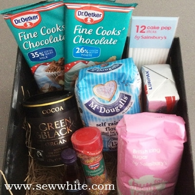 cake pop ingredients in a box