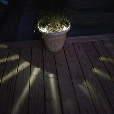 Flower pot with two solar path lights inside creating wonderful light and shadows on the deck