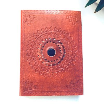Spiral Crystals: Onyx Crystal Leather Journal