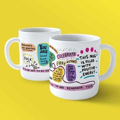 inspirational mug with mental health quotes