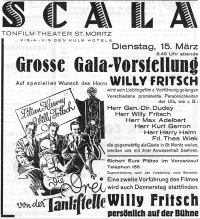 """""""Gala-Vorstellung mit Willy Fritsch"""".Artikel in der Schweizer Tageszeitung """"Engadiner Post"""" Nr.31 vom 15.03.1932(Quelle: e-newspaperarchives.ch)"""