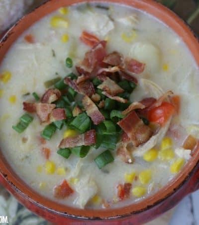 Warm up with a bowl of this hearty Chicken Corn Chowder. There is nothing like a hot bowl of chowder to soothe your soul.