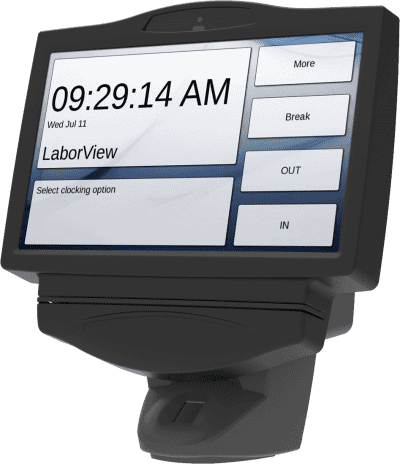 Side view of the GT555 touchscreen employee time clock