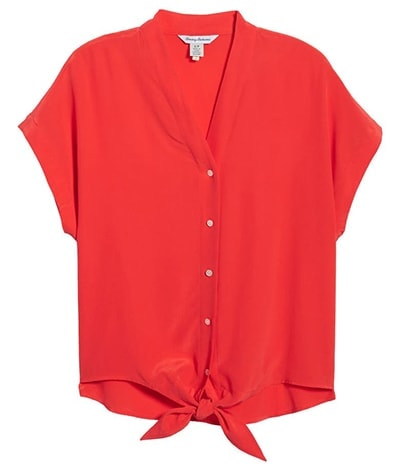 Tommy Bahama tie front silk shirt | 40plusstyle.com