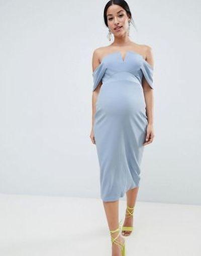 vestidos-de-fiesta-premama-para-embarazadas-midi-ajustado-escote-v-sobrefalda-asos
