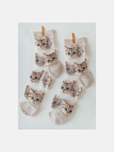 calcetines malla kitten beige